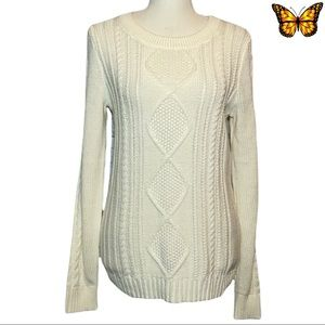 Old Navy Classic Cable Sweater In Cream Size Medium